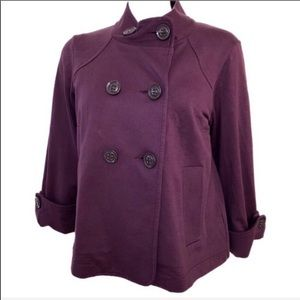 EUC CAbi Plum Double Breasted Pea Coat L
